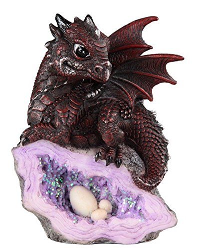 (StealStreet SS-G-71582 Medieval Baby Dragon with Crystal Egg Nest Decorative Figurine, Red)