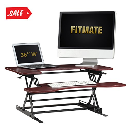 Fitmate Standing Desk - 36'' Height Adjustable Stand Up Desk Computer Riser, Sit Stand Desk Elevating Desktop Fits Two Monitors (Cherry) by Fitmate