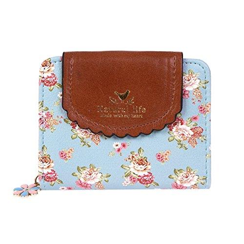- Damara Women PU Zipper Closure Flower Printed Flap Wallet,Light Blue