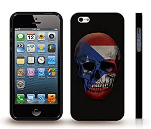 Case For HTC One M8 Cover with Puerto Rico Flag on a Skull Design , Snap-on Cover, Hard Carrying Case (Black)