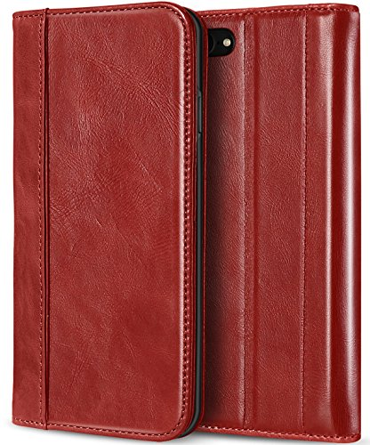 iPhone 8 Case/iPhone 7 Genuine Leather Case, ProCase Vintage Wallet Folding Flip Case with Kickstand Card Holder Protective Cover for Apple iPhone 8 / iPhone 7 -Red