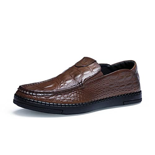 JUNBOSI Zapatos de Cuero Ocasionales de los Hombres Mocasines con Diseño de cocodrilo Zapatos de Conducción Casual Mocasín Elegante Style UKSize 6-10: ...