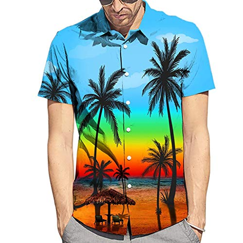 - Men's Summer Coconut Tree Shirts - Hawaiian Style Short-Sleeved Fashion Shirts,2019 New