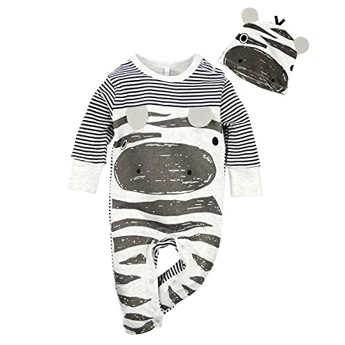 Big Elephant Baby Boys 2 Pcs Pajama Romper Sets with Hat Grey (12-18 Months)