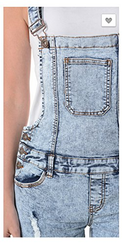 Tabeez Women's Cropped Skinny Jean Overalls (Extra Large, Acid Wash Light Blue)