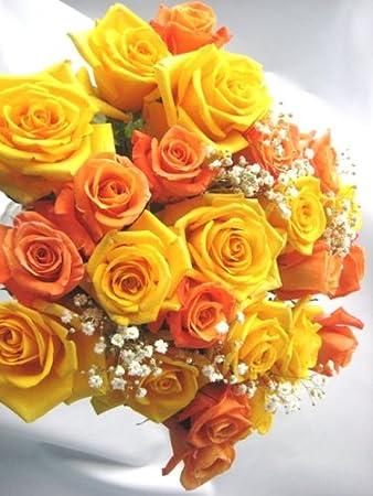 Amazon Com Bouquet Of 24 Fresh Cut Yellow And Orange Roses