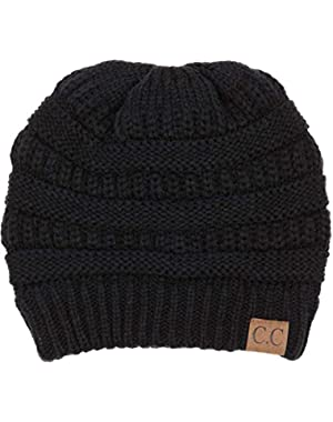 Exclusive Oversized Baggy Slouchy Thick Winter Beanie Hat (3PK: Black Charcoal&Ivory)