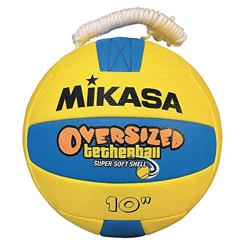 "Mikasa Oversized Tetherball Oversized Soft Tetherball, Yellow/Blue, Oversized - 10"" Diameter"