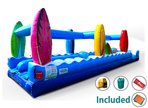 Complete 35-Foot Double Lane Surf Slip-n-Slide Inflatable Water Slide with 1.5 HP Blower and (Big Surf Water Slide)