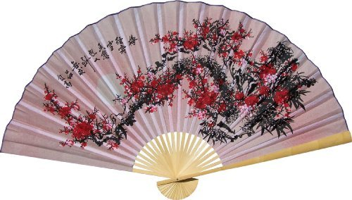 Large 60'' Folding Wall Fan - Purity Blossoms - Original Hand-painted by Oriental-Decor