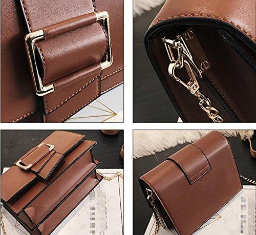 Paquete Un Bolso brown Verano Satchel Nueva Bag Pequeño Negro Moda Decoración De Correa Meaeo En Primavera Marea Y UqO060T