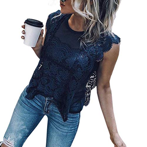 maille patchwork sans chemises rond vider Femme top Bleu col chemisier Gilet manches Huyizhi Femmes dentelle xCffzX