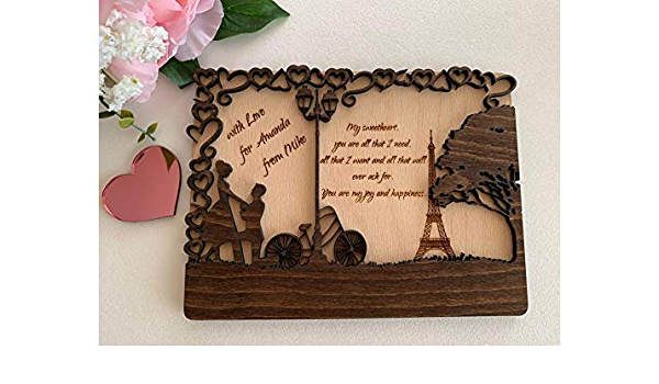 Personalized text Dreaming Romantic Handmade wooden postcard Happy dreaming day Happy Birthday Card Car for her Card for Friend