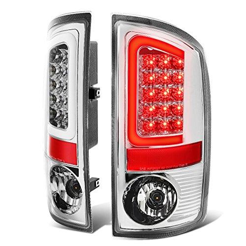 Pair of Chrome Housing Clear Lens 3D Stripe LED Bar Brake Tail Lights for Dodge Ram 1500/2500/3500 02-06