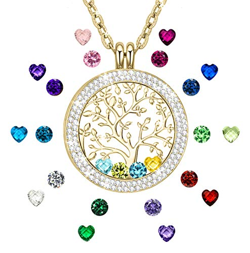 CLORIS TAUTOU Grandma Gifts, Gifts for Mom Created Birthstone Necklace Gold