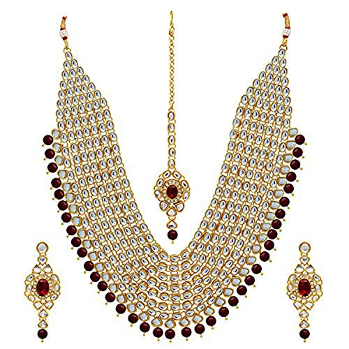 aheli Wedding Collection Kundan Layer Jewelry Necklace Set/Bridal Set with Maang Tikka Earrings for Women from aheli