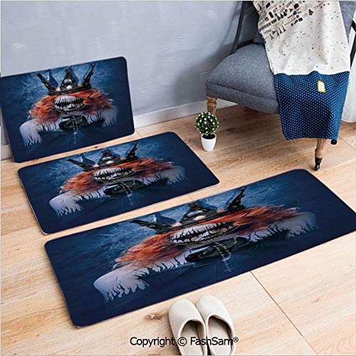 3 Piece Flannel Bath Carpet Non Slip Queen of Death Scary Body Art Halloween Evil Face Bizarre Make Up Zombie Front Door Mats Rugs for Home(W15.7xL23.6 by W19.6xL31.5 by W17.7xL53) -