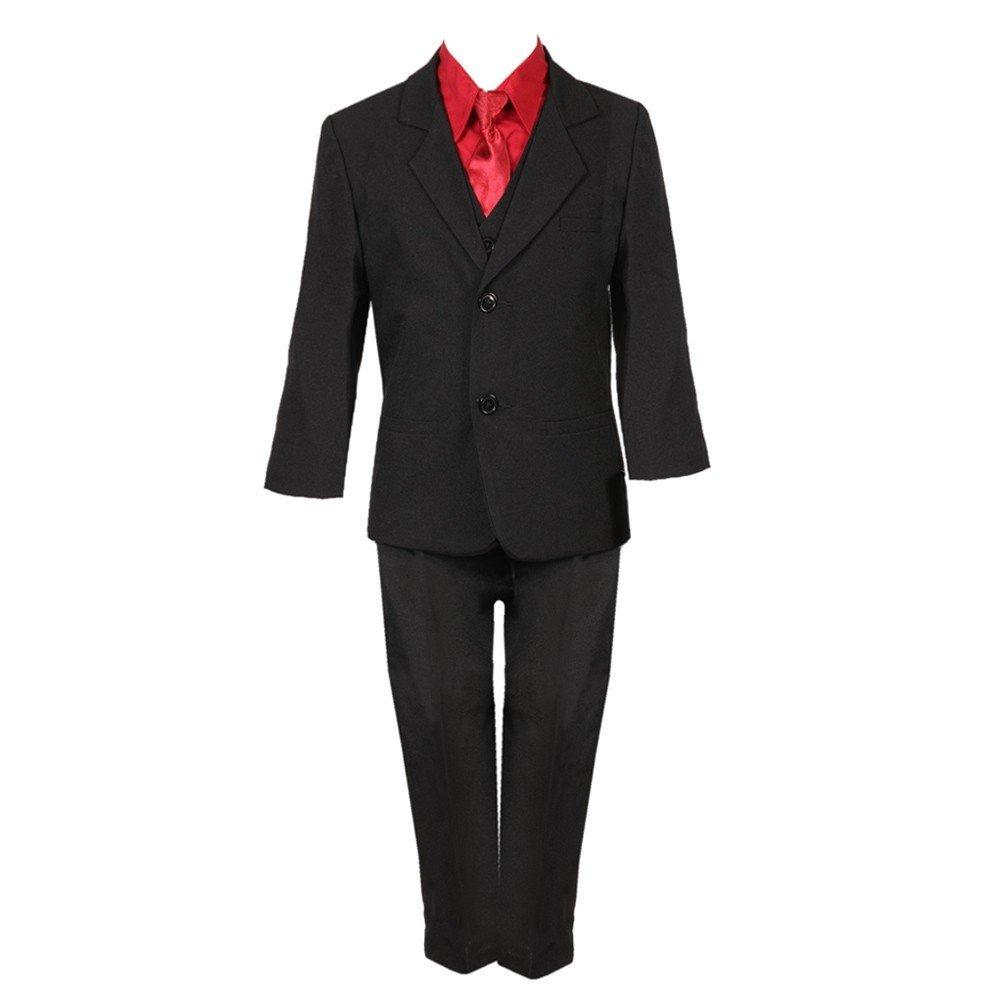 Rafael Collection Baby Boys Black Red 5 Piece Vest Jacket Pants Special Occasion Suit 12-24M
