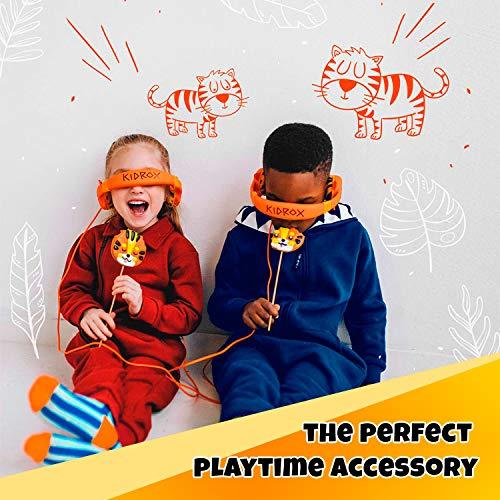 Kidrox Tiger-Ear Kids Headphones Boys/Girls - 85dB Volume Limited, Wired Toddler Headphones for School, Adjustable Headband, Tangle Free Cable, Cute Design, Small Orange Children Headphones On Ear
