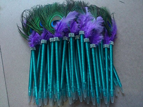 Book Ribbon Wedding Guest (2pcs Turquoise Peacock feather pen Feather guest book pen for Vintage wedding guest pen Turquoise Ribbon)