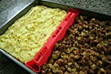 Bakesplit Adjustable Silicone Baking Sheet Divider for Meal Preparation and Roasting- Fits all Casserole, Bread Loaf, Lasagna Pan Sizes and Includes Magnets - Great Meal Prep Kitchen Gadget