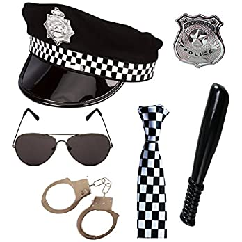 Paper Umbrella Police Costume Six Accessories Set
