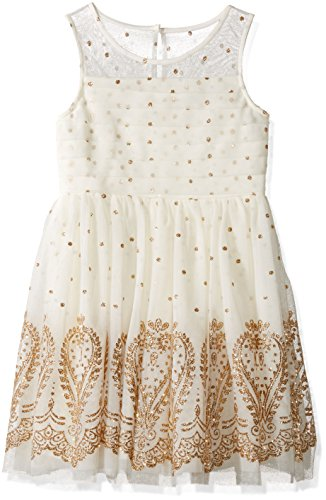 My Michelle Girls' Big Sleeveless Dress with Glitter Brocade Design, Pleated Top and Tulle Skirt, Ivory/Gold, ()