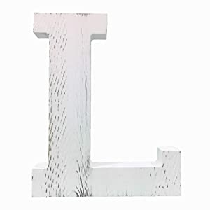 Extra Large Wood Decor Letters Wood Distressed White Letters DIY Block Words Sign Alphabet Free Standing Hanging for Home Bedroom Office Wedding Party (L)