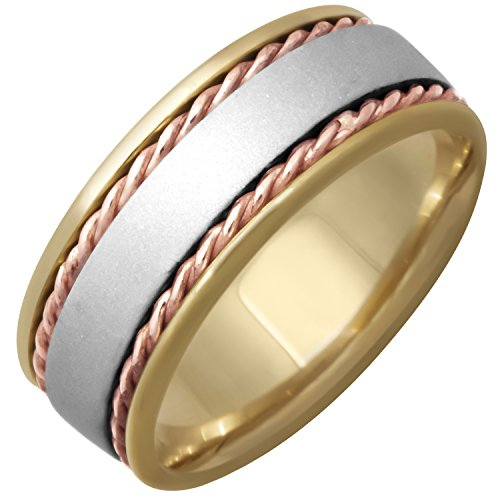 14K Tri Color Gold Braided Rope Edge Men's Comfort Fit Wedding Band (7mm) - Edge Braided Mens