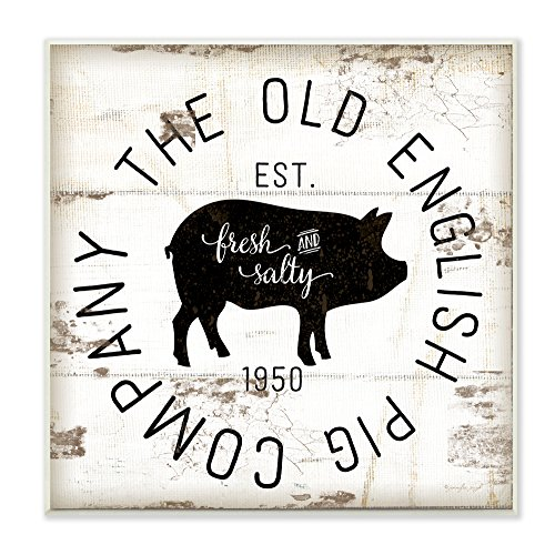 Stupell Industries Old English Pig Co Vintage Sign Wall Plaque Art, 12 x 0.5 x 12, Proudly Made in USA Pig Wall
