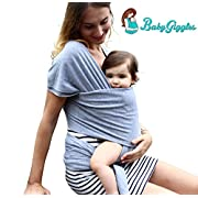 BabyGiggles Baby Wearing Wrap Carrier for Women & Men | Stretchy, Comfy, Soft & Breathable Sling | Use As Nursing Cover Or Postpartum Belt | Bond with Newborn, Go Hands Free, Breastfeeding (Grey)