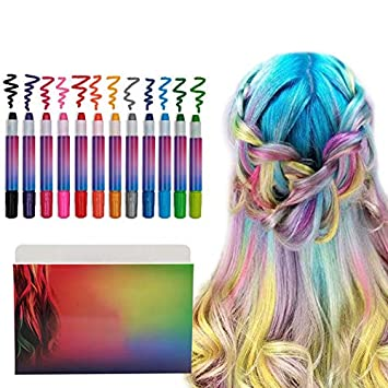 Hair Chalk Birthday Gift For Girls 12 Colourful Pens Washes Out