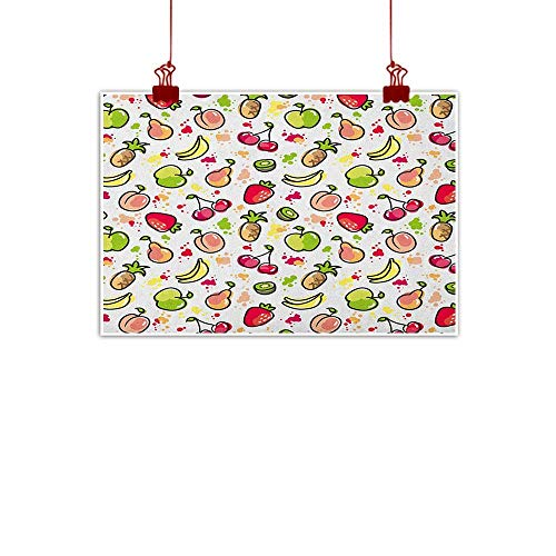 Sunset glow Wall Painting Prints Fruits,Watercolor Pear Cherries Kiwi Apple Brushstroke Splashes Cute Kids Kitchen, Peach Lime Green Red 20