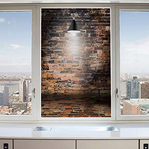 - 3D Decorative Privacy Window Films,Dark Cracked Bricks Ceiling Lamp Spot Light Life Building Urban City Image,No-Glue Self Static Cling Glass film for Home Bedroom Bathroom Kitchen Office 17.5x36 Inch