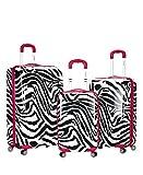 Rockland Luggage 3 Piece Upright Set, Pink Zebra, Medium