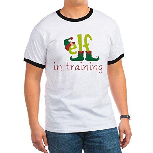 (CafePress - Elf In Training Ringer T - Ringer T-Shirt, 100% Cotton Ringed T-Shirt, Vintage Shirt Black/White)
