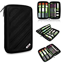 Travel Organizer Bag EVA Hard Drive Case /Grooming Travel Bag/electronics Accessories Case Mini tripod Carry Case /Selfie Stick Monopod Carry Case for Fit Iphone 6 5/5s/5c Samsung S2 S3 S4 S5 Note 3 Note 4 Note 2 organizer Bag Mini tripod bag (Black)