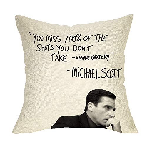 (Fbcoo The Office TV Show Decorative Throw Pillow Case Wayne Gretzky Funny Michael Scott Quote Cushion Cover Home Decor 18 x 18 Inch Cotton Linen for Sofa Couch)