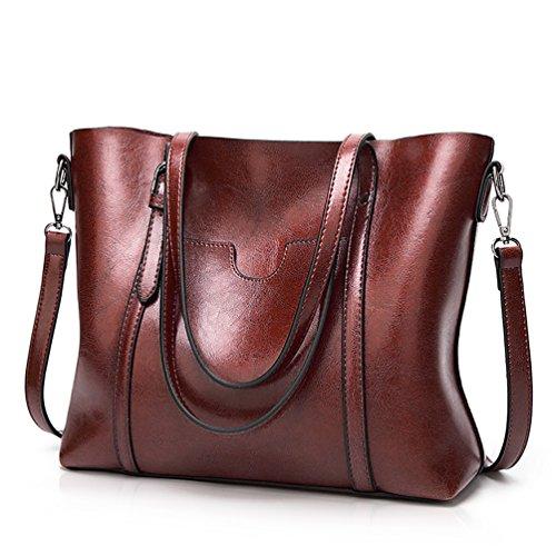 Coffee Shoulder Bag Handbag (Essfeeni Handbags Shoulder Bag Satchel Handbags Tote Purse for Women Lady Coffee)