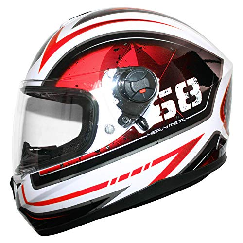 Amazon.es: Leopard LEO-828 Cascos Integrales de Moto Motocicleta Bicicleta ECE 22-05 Aprobado + Doble Visera Rojo/Negro/Blanco S (55-56cm)