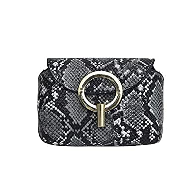 Women Snakeskin Leather Fanny Pack Waist Pack Adjustable Crossbody Shoulder Bag Bum Bag Grey Size: One Size