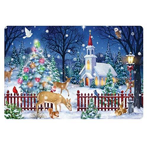 FOR U DESIGNS Christmas Tree and Reindeer Xmas Doormat Non-Slip Indoor Door Mat Rug Home Decor, Entrance Rug Floor Mats Rubber Backing from FOR U DESIGNS