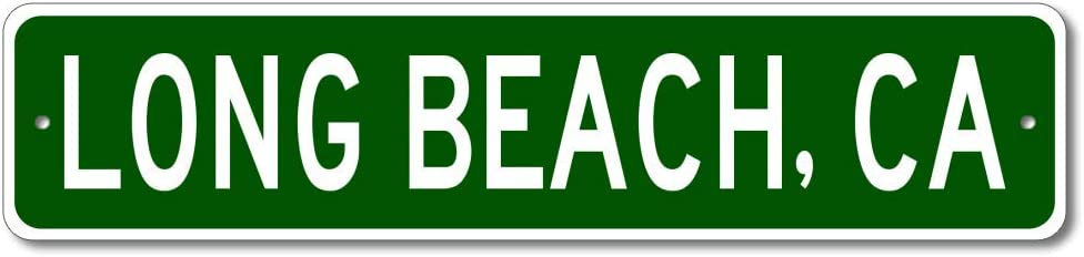 Long Beach, California - USA City and State Street Sign - Personalized Metal Street Sign, Man Cave Destination Sign, Idea, Pub Bar Wall Decor, Made in USA - 4x18 inches
