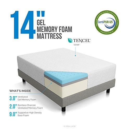 LUCID 14 Inch Memory Foam Mattress - Triple-Layer - 5.3 Pound Density Ventilated Gel Memory Foam - CertiPUR-US Certified - 10-Year U.S. Warranty - Queen