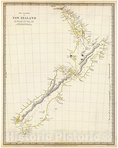 Historic Map | World Atlas | 1838 New Zealand. | Vintage Wall Art | 35in x 44in (Framed Map Of New Zealand)