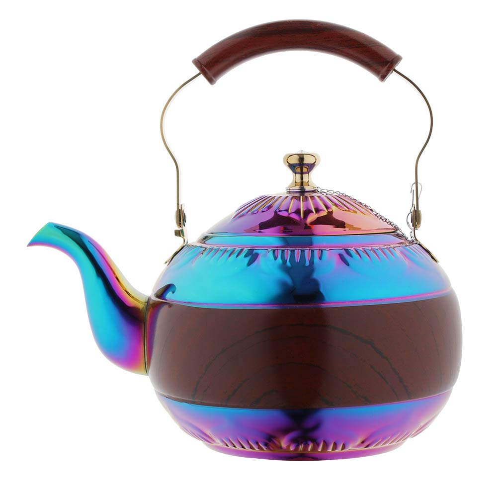 Onlycooker Tea Pot with Infuser for Loose Leaf 2 Liter Rainbow Tea Kettle Stainless Steel Colorful Coffee Pot 8 Cup Stovetop Induction Stove Top Teapot Strainer for Hot Water Multicolor 2.1 QT