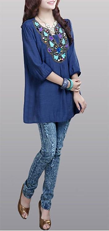 Para Amazon Azul Mujer Única Talla Camisas Marino Chezabbey 17qx5z0