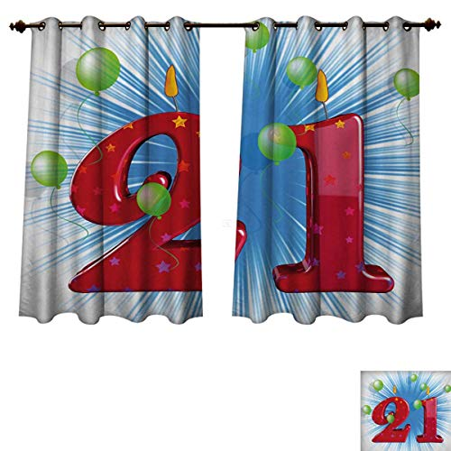 RuppertTextile 21st Birthday Blackout Thermal Backed Curtains for Living Room Blue and White Colored Abstract Backdrop with The Party Balloons Customized Curtains Pale Green and Red W63 x L45 -