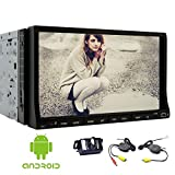 EinCar Android 6.0 Quad Core Car Audio Wifi 7'' in Dash Double 2 Din GPS Navigation Car DVD Player Stereo Full Touch Screen FM/AM RDS Radio for Unversal Car with Wirelesss Camera