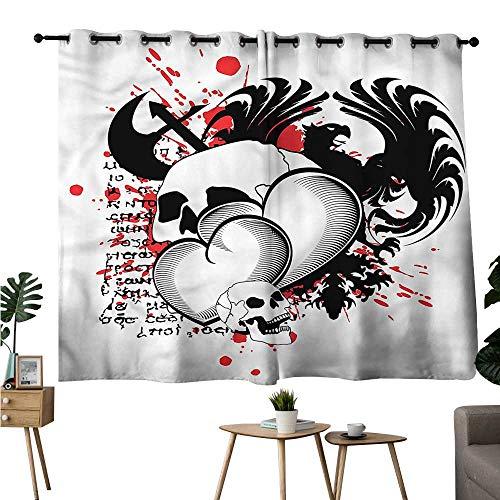 Jaydevn Family Darkening Curtains Grommets Curtain Backdrop Tattoo,Skull Eagle Love Hearts Room/Bedroom, W72 x L45